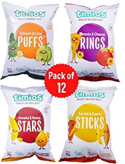 Timios Snacks Mix Flavours Pack of 12   Banana and Honey -3, Carrot and Cumin -3, Tomato and Cheese -3 and Spinach and Lim...