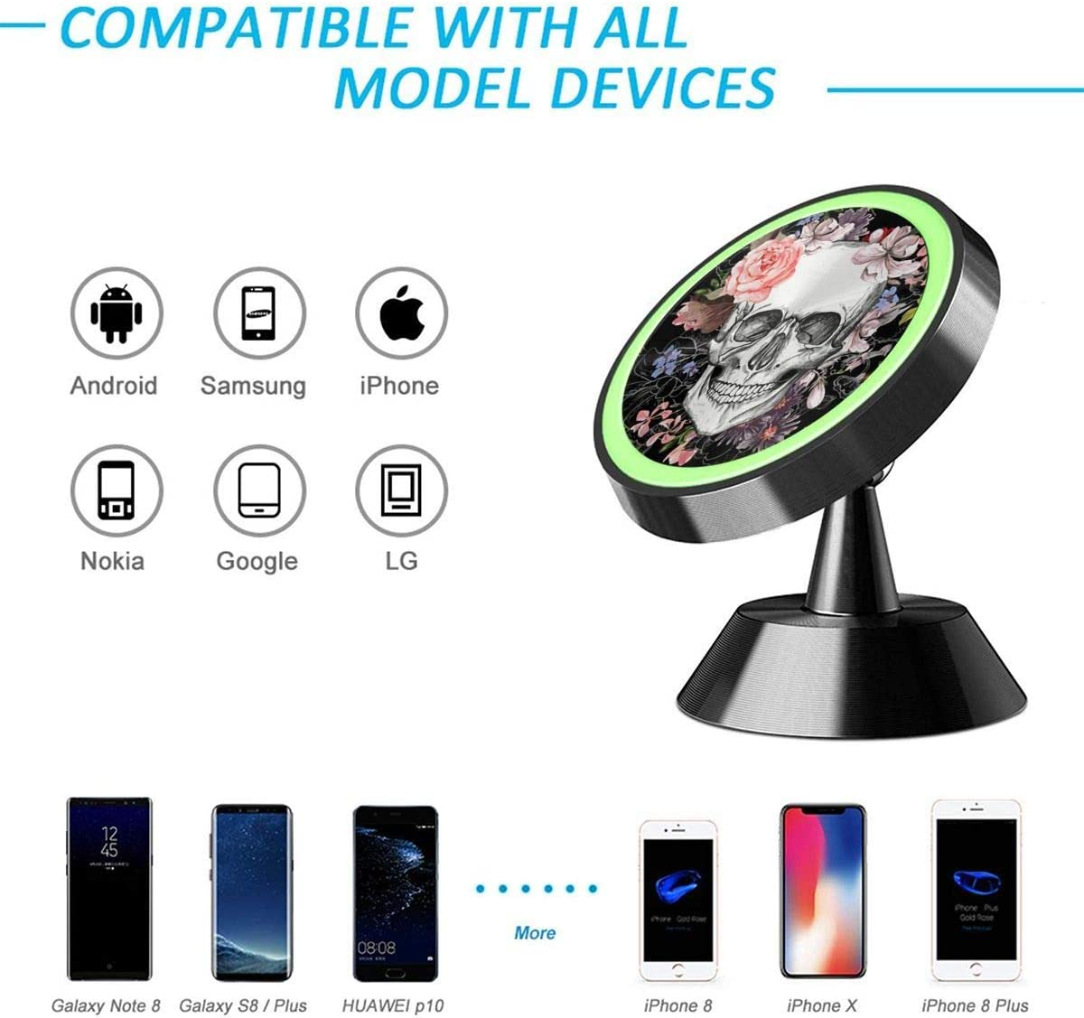 Magnetic Phone Car Mount Dead The Nightmare Before Christmas Universal Rotation 360/° Car Phone Mount Dashboard Metal Magnetic Holder Compatible with GPS iPhone Samsung Most Smartphones