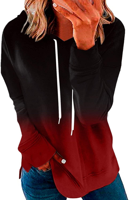 Women's Long Sleeve Gradient Sweatshirt Color Tie Dye Printed Hoodie Plus Size Winter Pullover Loose Tops