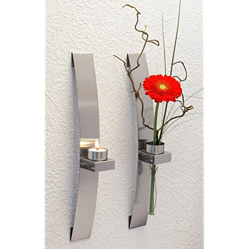 CHG 3342-00 Porte-bougie/fleur mural Lot de 2 39,5 x 5 x 8 cm