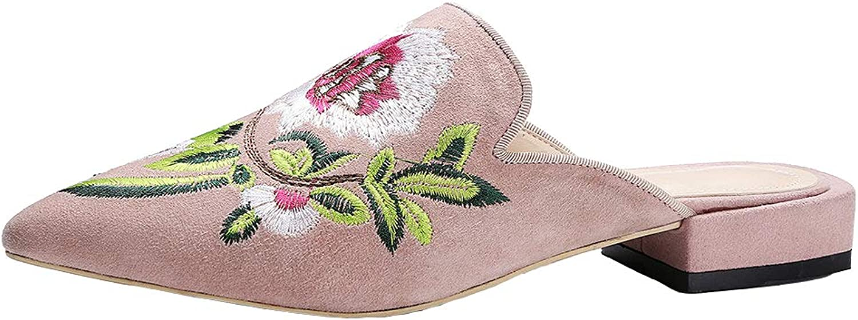 KIKIVA Women Pointed Toe Mules Slingback Flat Embroidery Loafers Slipper