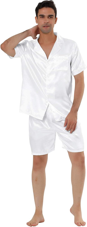 Lars Amadeus Men's Satin Pajama Set Summer Short Sleeve Night Wear Sleepwears Sleep Lounge Sets