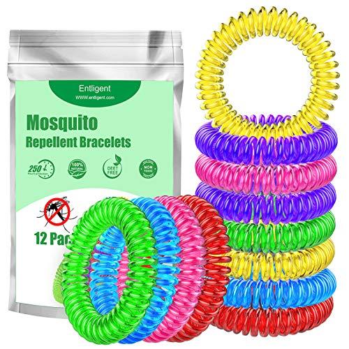 Pulseras Repelentes de Mosquitos 12 Piezas, Entligent Pulsera Antimosquitos Natural sin DEET No Tóxica con Aceite Esencial a Citronela y Menta Protección de Hasta 250H Impermeable para Niños y Adultos