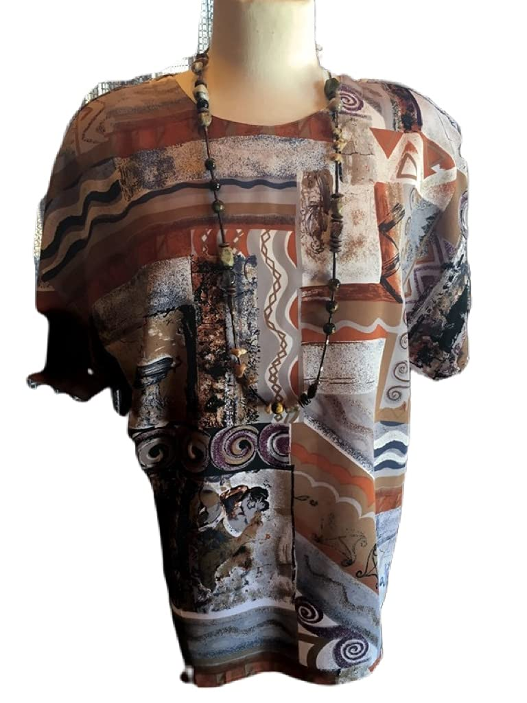 Custom Couture L tan Time sale and grey quality assurance beaded brw multi print with blouse