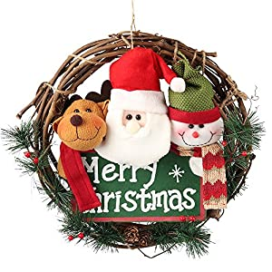 D-FantiX 14 inch Merry Christmas Wreaths for Front Door, Small Grapevine Wreath Indoor Winter Holiday Wreaths Front Door Christmas Decoration (Reindeer Snowman Santa Claus)
