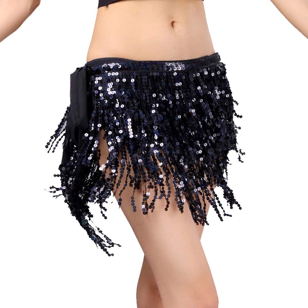 4-Layers Sequined Fringed Drawstring Closure Belly Dance Waist Chain Skirt Hip Scarf Latin Skirt
