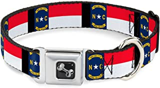 Buckle-Down Seatbelt Buckle Dog Collar - North Carolina Flag/Black