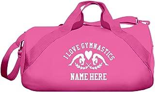 I Love Gymnastics Custom Name Gift: Barrel Duffel Bag