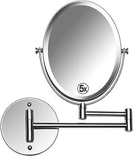 Mirrorvana - Espejo de pared ovalado para baño (5 x 1 x 1 x lupa, doble cara, extensión giratoria de 13 pulgadas, superficie de visualización de 6,6