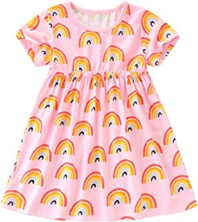 Girls Short Sleeve Dress Cotton Casual Cartoon Dresses Size 2-8 Years
