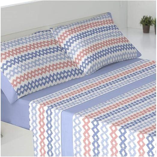 Juego de sabanas Invierno Tejido CORALINA DRAVA Azul Cama de 150 x 190//200 Color Azul