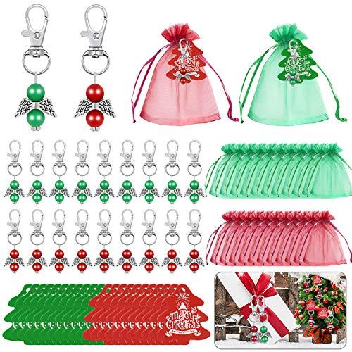 72-teiliges Weihnachtsengel-Schlüsselanhänger-Set, Geschenkanhänger, Weihnachtsbaumschmuck für Weihnachten, Hochzeit, Geburtstag, Brautparty, Partydekoration, rot und grün