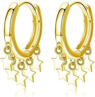 Small Huggie Hoop Earrings Sterling Silver CZ Crystal Tassel Star Circle Disc Dangling Cartilage Earrings Hoops Dainty Chr...