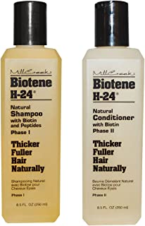 Mill Creek Botanicals Biotene H-24 Biotin and Keratin Shampoo and Condtiioner Bundle For Thinning Hair, Hair Loss and Receding Hair Line With Aloe Vera, Sage, Panthenol and Vitamin E, 8.5 oz. each