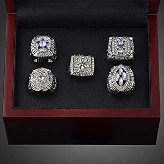 AONEW NFL Supper Bowl Dallas Cowboys Championship Ring Set Replica Rings Collectible Souvenir with Display Box Size 9-12