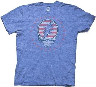 Grateful Dead Adult Unisex Patriotic SYF Reverse Light Weight Crew T-Shirt