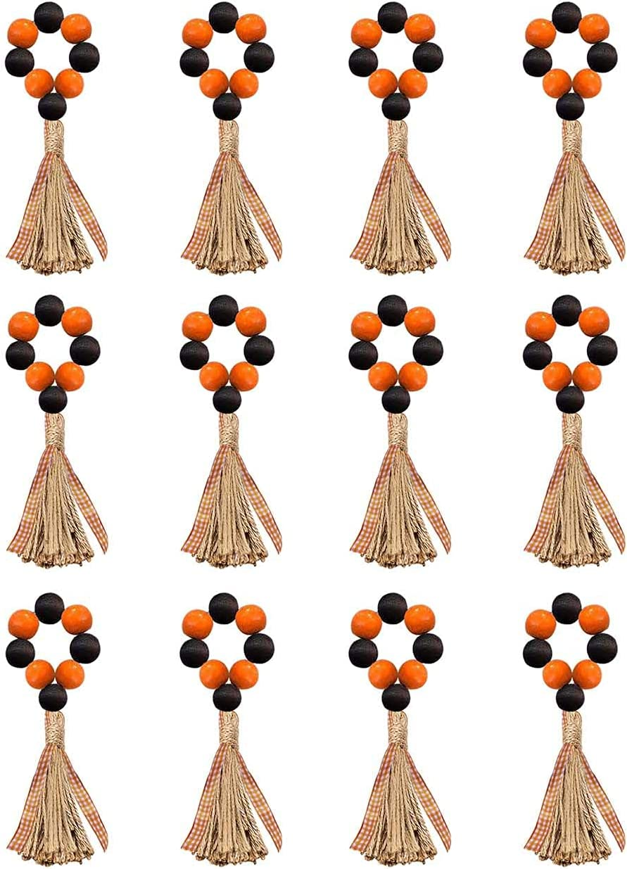 LuckyShe Halloween Decor Napkin Rings Wooden Tas Max 70% OFF Beads Farmhouse Fees free!!