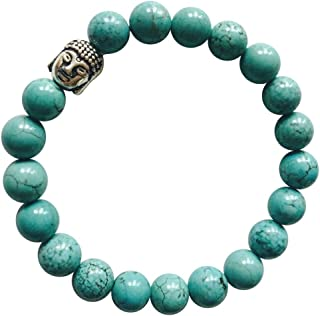 'Wisdom and Strength' Genuine Turquoise Gemstone Chakra Bead Buddha Bracelet ~ Natural Stones Ethically Sourced from Western Hills of India ~ Handmade Jewellery in Gift Box