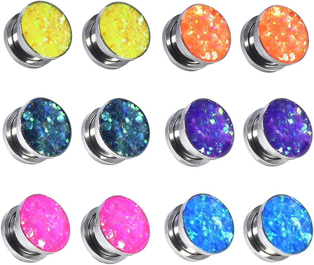 Jboyanpei Colorful Sequins Stainless Steel Screw Fit Ear Tunnel Plug Gauge Ear Stretching Jewelry Size 6g(4mm) to 150/127