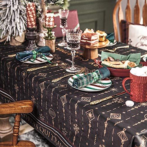 GE&YOBBY Stof Kerst Rechthoek Tafelkleed, Kerst Patroon Bloemen Gedrukt Waterdichte Tafeldoek, Moderne Duurzame Tafeldecoratie Voor Kerstfeest