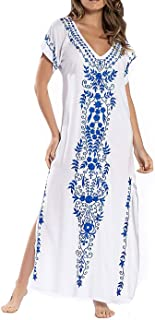 Bestyyou Women's Printed Embroidered Kaftans Long Caftans Robe Nightgown Beach Dress Swimsuit Cover Up Swimwear