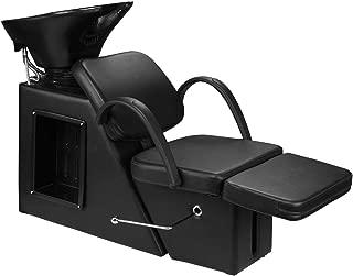 Ainfox Shampoo Barber Backwash Chair, Adjustable ABS Plastic Shampoo Bowl Sink with Chair for Spa Beauty Salon Unit Station