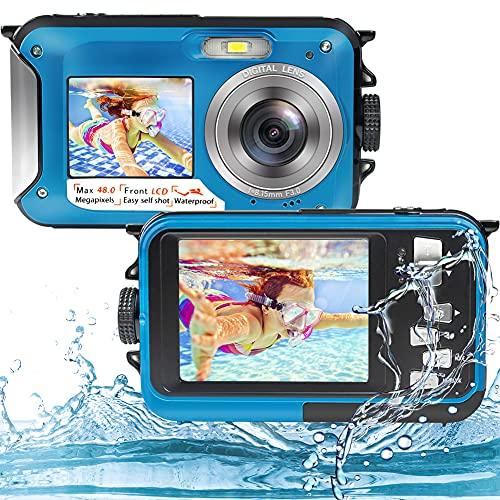 Unterwasserkamera Full HD 2.7K 48MP Unterwasser Kamera zum Schnorcheln wasserdichte Digitalkamera mit Zwei Bildschirmen, Selbstauslöser und 16-fachem Digitalzoom