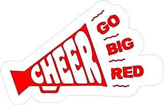StickerTalk Cheer Megaphone Go Big Red Vinyl Sticker, 5 inches by 3 inches