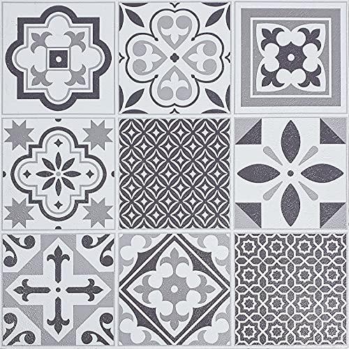 Decomeister Selbstklebende Bodenfliesen Kunststoff Fliesen Vinyl-Fliesen Bodenbelag Probemuster 15,25 x 30,5 cm Ornament Oriental tiles
