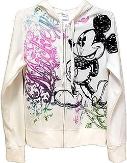 Disney Junior Women Ornate Mickey Mouse Zip Up Hoodie, Off White