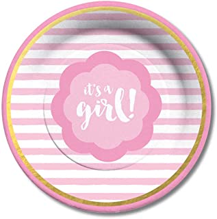 C.R. Gibson Pink and Gold It's a Girl Baby Shower Dessert Plates, 8 ct.