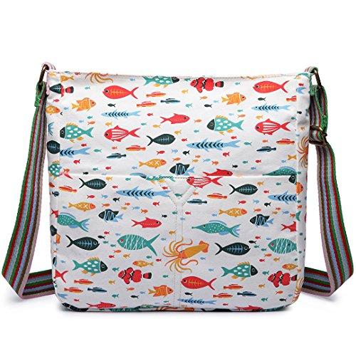 Miss Lulu Women Cross Body Bag Canvas Messenger Bags Fish Print Teenagers Satchel Schoolbag for Girls (Beige)
