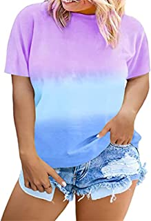 Women Tie Dye T Shirt Plus Size Top for Women Short Sleeve Oversized Tee Blouse Casual Summer Outfits