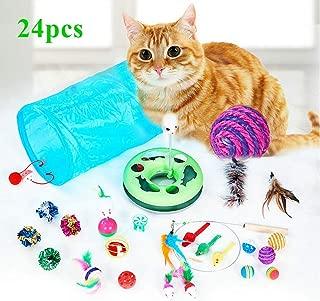 WERTYCITY 31pcs Cat Toys Kitten Toys Assortments, 3 Way Tunnel, Interactive Feather Teaser, Catnip Fish, Chew Sticks, Mice, Balls and Bells, Super Fun for Puppy, Kitty, Rabbits