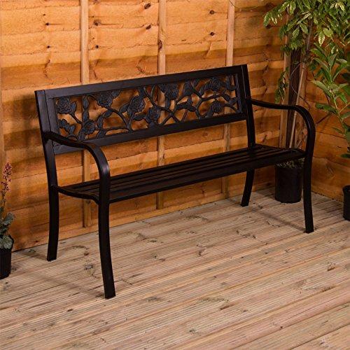 Garden Vida Steel Garden Bench, Rose Design 3 Seater Outdoor Furniture Seating Park Patio Seat