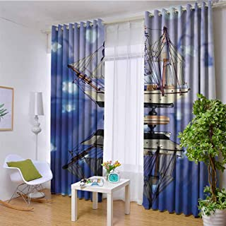 hengshu Ocean Decor Shading Insulated Curtain Sail Boat on Blue Magic Neon Flashlights Mirror Reflection Alluring Yacht for Living Room or Bedroom W120 x L96 Inch PolyesterBlue Beige Khaki and Navy