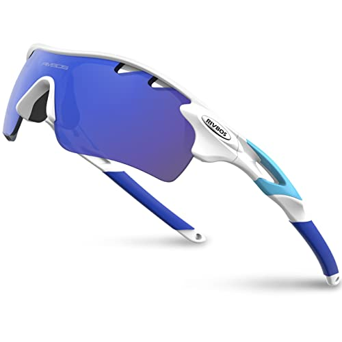 fb6501154a9 RIVBOS 801 Polarized Sports Sunglasses Sun Glasses with 5 Interchangeable  Lenses for Men Women Baseball Cycling