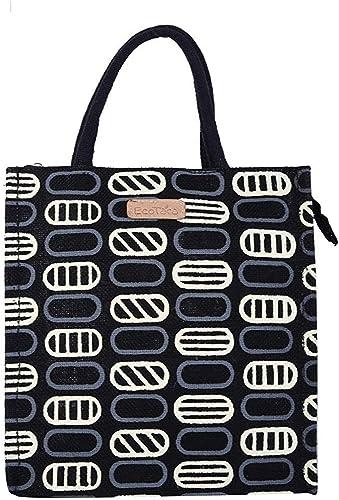 ECOTARA Jute Lunch Bag for Men & Women with Bottle Holder - (Black)