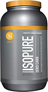 Isopure Zero Carb, Keto Friendly Protein Powder, 100% Whey Protein Isolate, Flavor: Pineapple Orange Banana, 3 Pounds