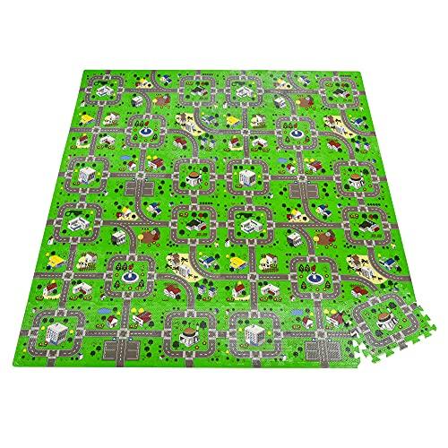 HOMCOM Alfombra Puzzle Infantil con 36 Piezas 31,5x31,5 cm Juego Rompecabezas Infantil Modelo Carreteras de Espuma EVA Área de Cobertura 3,24 m² Multicolor