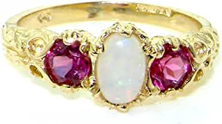 LetsBuyGold 14k Yellow Gold Real Genuine Opal and Pink Tourmaline Womens Band Ring