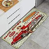 DAHALLAR Anti-Fatigue La Cuisine Tapis,Diner Hot Dog Vintage Pin Up Girl et Voiture rétro des années 1950 Confortable,Antidérapant Coussiné Porte Chambre Baignoire Tapis Couverture Tampon,120 x 45cm