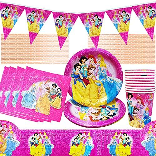 Juego de Vajilla de Fiesta de P]rincesa, Princess Cumpleaños Vajilla Decoraciones para Fiestas Princesa Desechable Plato Papel Tenedor Taza Pajitas Party Suministros