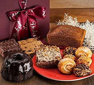 Dulcet Gift Baskets Old Fashioned Sampler Food Gift Basket Filled with Marble Loaf Cake-Fudge Brownies and More Ideal for Holiday and new year greetings for Women, Men, and Corporate Gifting.