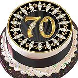 Essbares Zuckerpapier, Runder Tortenaufleger zum 70. Geburtstag, 19,5 cm Durchmesser, Vorgeschnitten, Schwarz und Gold, Z07 -