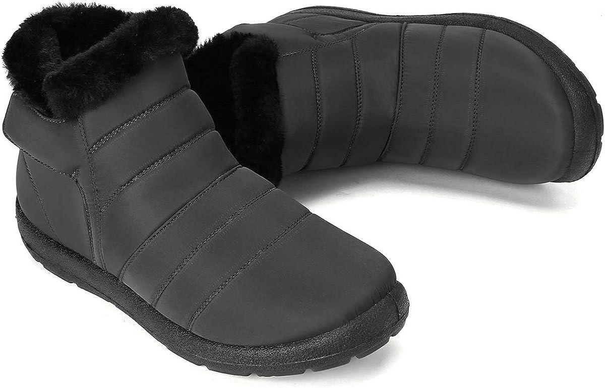 Noir Bleu Rouge gracosy Bottes de Neige Femmes Hommes Enfants Bottines Plates Fourr/ées Imperm/éable /à Talons Plats Bottines de Pluie Chaussures Ville Hiver avec Fourrure Boots Chaude