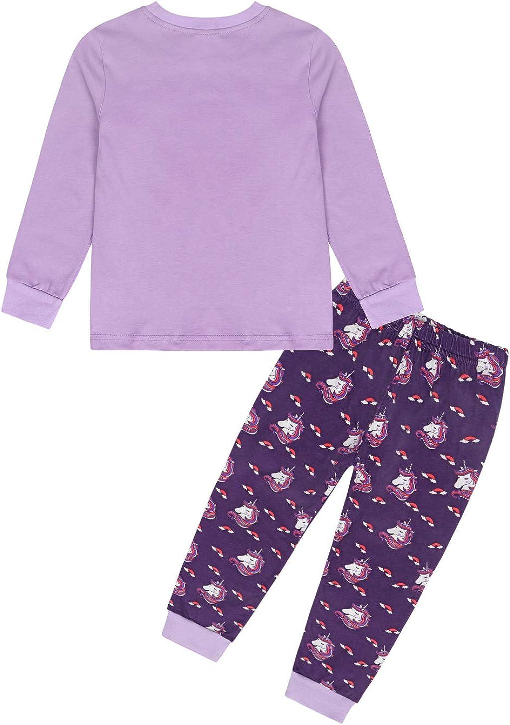 MetCuento Toddler Girls Pajamas Unicorn Children Long Sleeve Little Girl Sleepwear Sets Two Piece Clothes Set