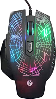 VCOM Wired USB Gaming Mouse - Ergonomic Optical Mouse Mice High Precision with 7 Colors LED Breathing Light, 4 DPI Settings Up to 2400 DPI, 6-Buttons for Laptop Notebook Desktop Computer Games Work