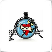 Dandelion Love Tattoo Necklace, Love Heart, Glass Cameo Pendant Cabochon Tile Necklace, Retro Rockabilly, Alternative Jewelry