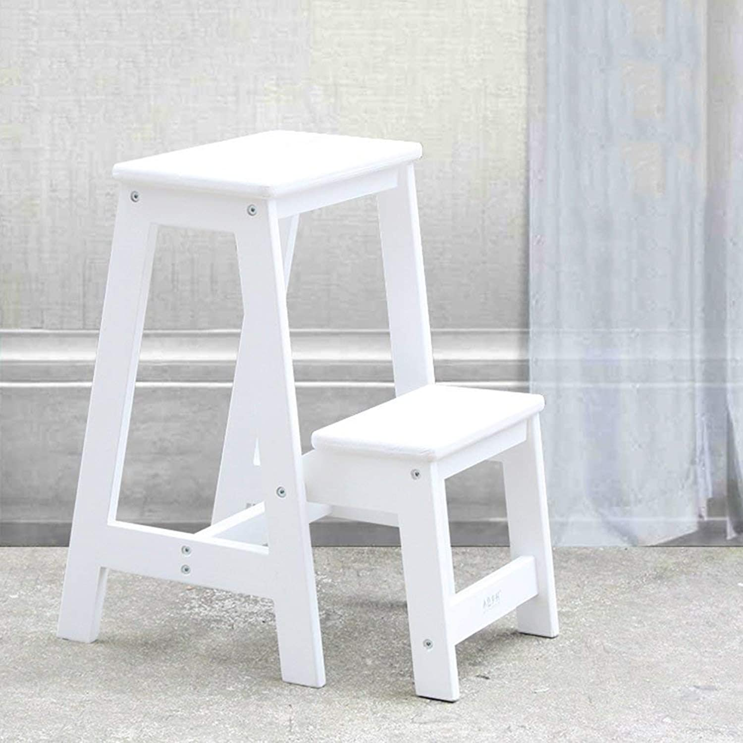 JINQD HOME Home folding wooden ladder multi-purpose staircase chair ladder stool indoor ladder home kitchen stool. - step stool (color   White)